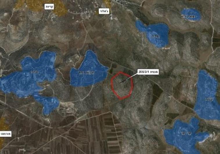 מפת התוכנית להקמת התנחלות חדשה למפוני עמונה