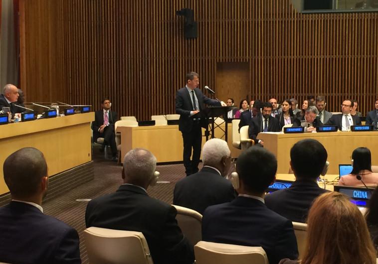 """מזכ""""ל בצלם נואם לפני מועצת הביטחון. צילום: צ'לסי ברלין, בצלם USA"""