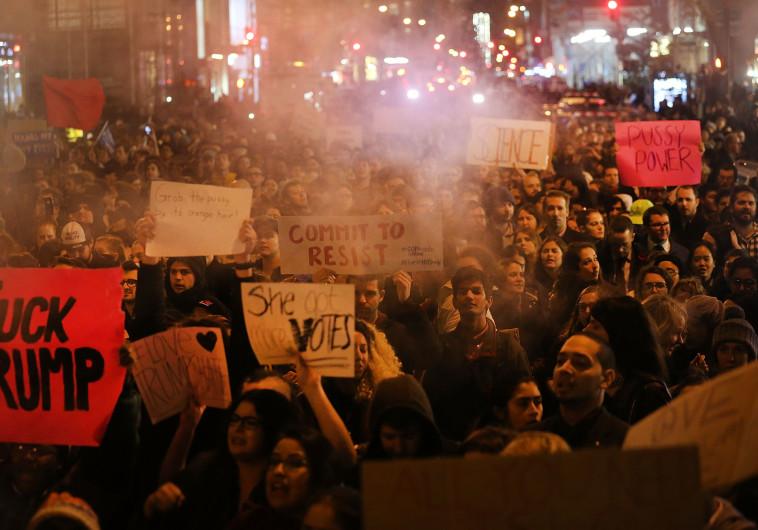 מפגינים נגד טראמפ בניו יורק. צילום: Getty Images