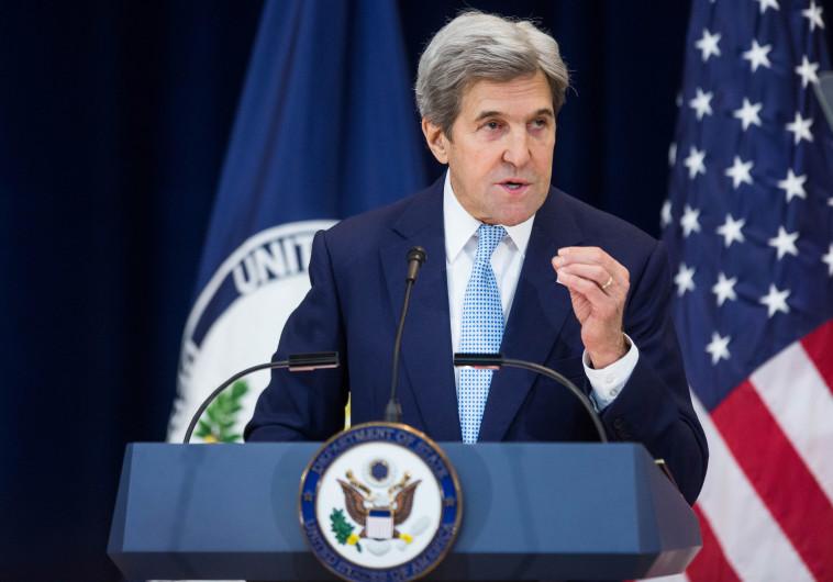 בצרפת הביעו תמיכה. ג'ון קרי בנאום ששת העקרונות. צילום: AFP