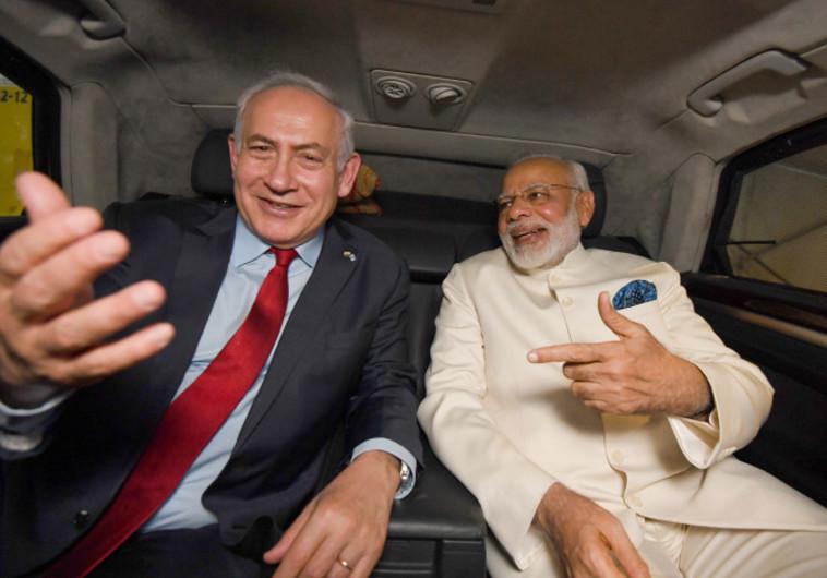 """יניע בוחרים לליכוד? ראש הממשלה נתניהו וראש ממשלת הודו מודי, צילום: חיים צח, לע""""מ"""