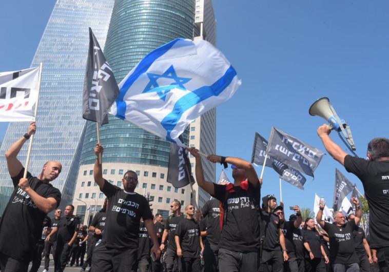 מחאת הכבאים בתל אביב. צילום: אבשלום ששוני