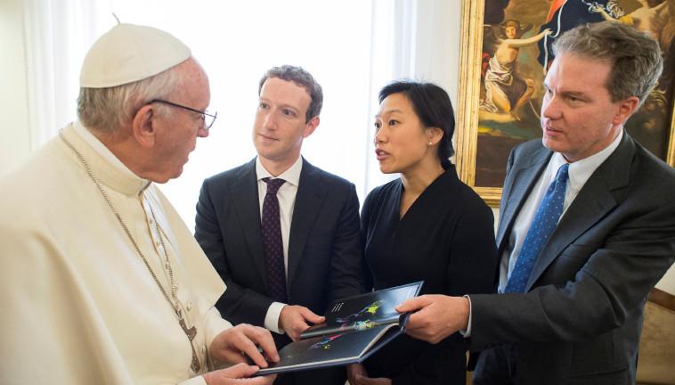 האפיפיור ומארק צוקרברג, צילום: רויטרס