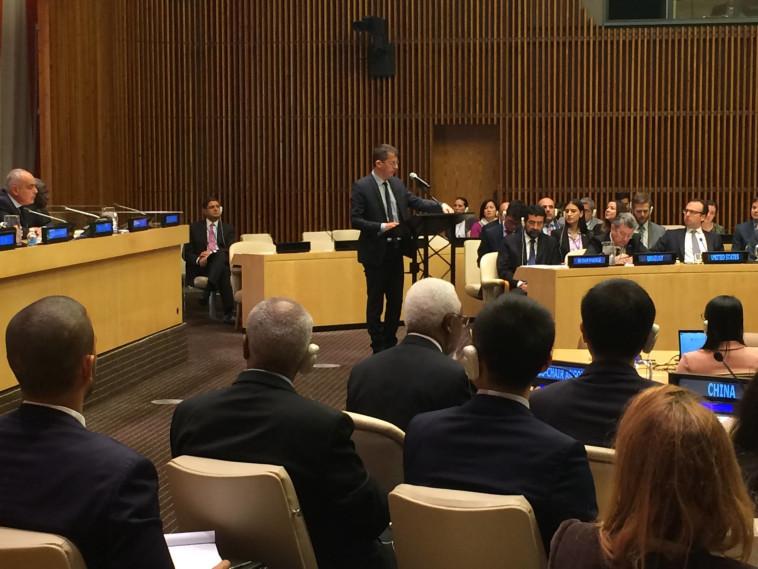חגי אלעד נואם לפני מועצת הביטחון. צילום: צ'לסי ברלין, בצלם USA