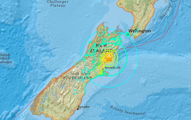 """אזור רעידת האדמה. צילום: אתר המכון הגיאולוגי של ארה""""ב"""