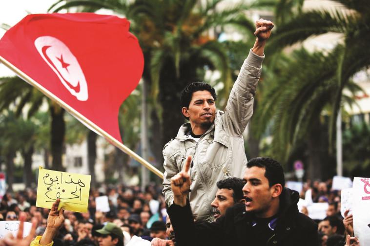 הפגנות האביב הערבי בתוניסיה, צילום: רויטרס