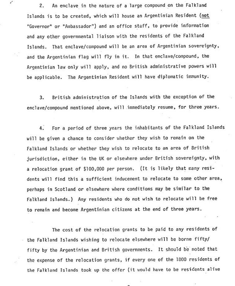 מסמך ה-CIA לפתרון למלחמת פוקלנד. צילום: ה-CIA