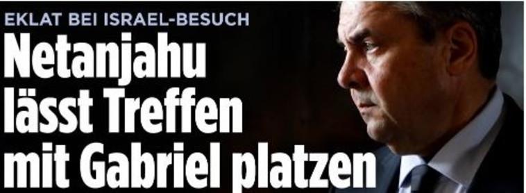 """הכותרת ב""""בילד"""" הגרמני על ביטול הפגישה. צילום מסך"""