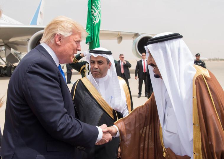 המלך סלמאן והנשיא טראמפ, ערב הסעודית. צילום: רויטרס