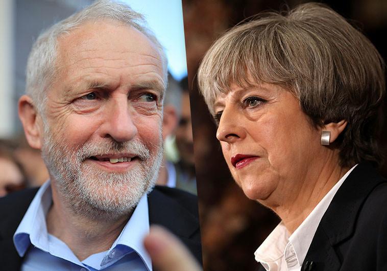 תרזה מיי וג'רמי קורבין. הבחירות בבריטניה צפויות להשפיע על המסחר בלונדון. צילום: Getti Images
