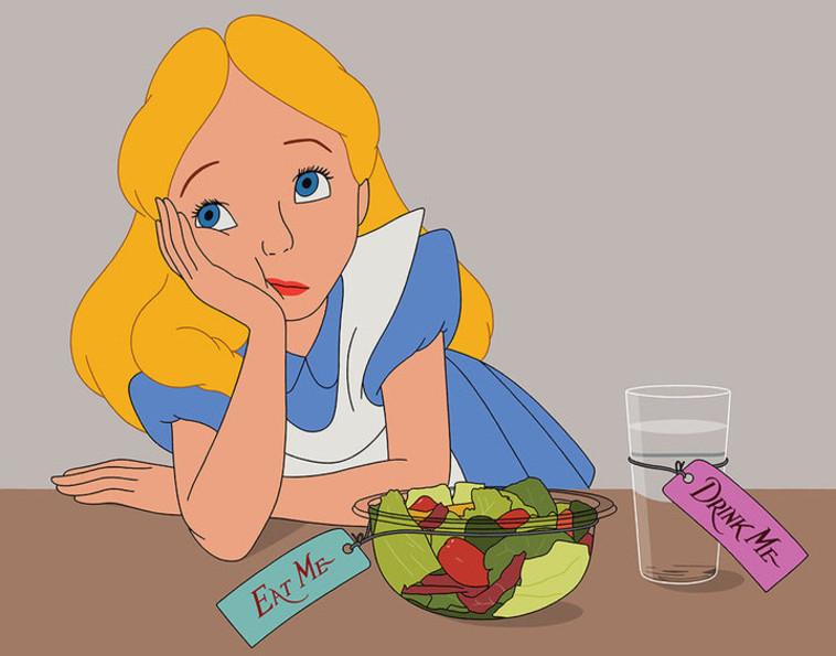אליסה בארץ הפלאות בגרסה המודרנית מוצאת עצמה בדיאטות אינסופיות. אינסטגרם