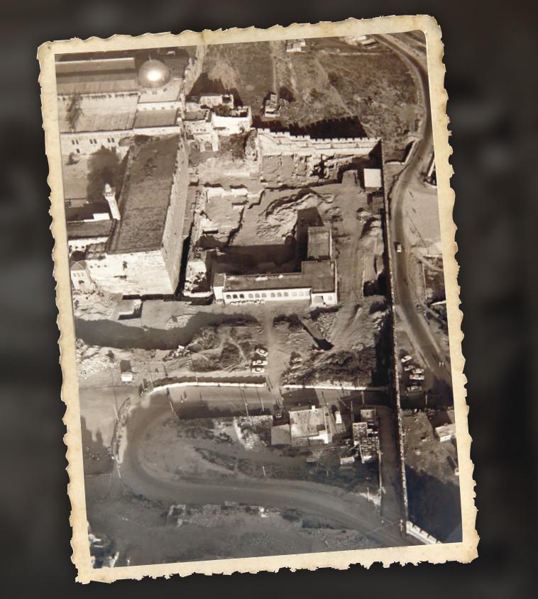 צילום אוויר של המתחם הדרומי של הר הבית, 1967. צילום: מירי צחי
