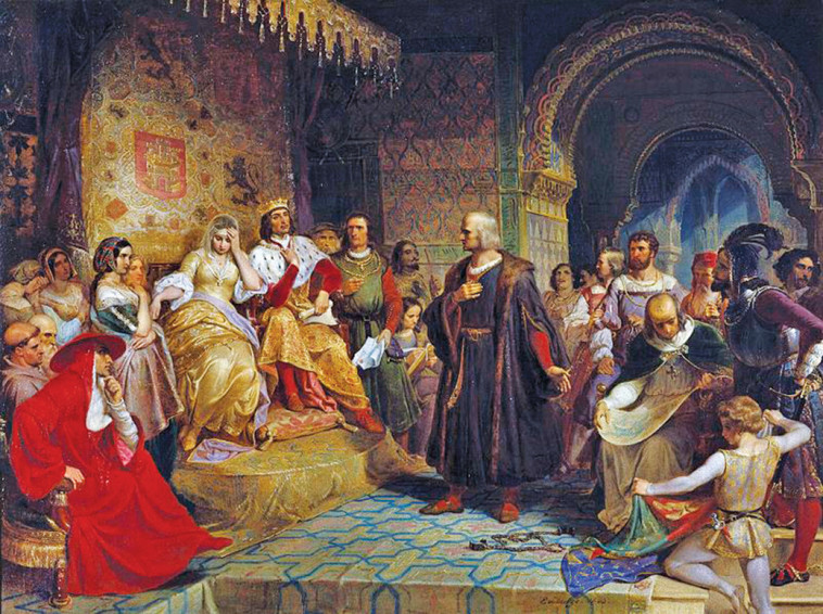 קולומבוס לפני המלכה איזבלה, ציור של עמנואל לויצה. צילום: מתוך ויקיפדיה