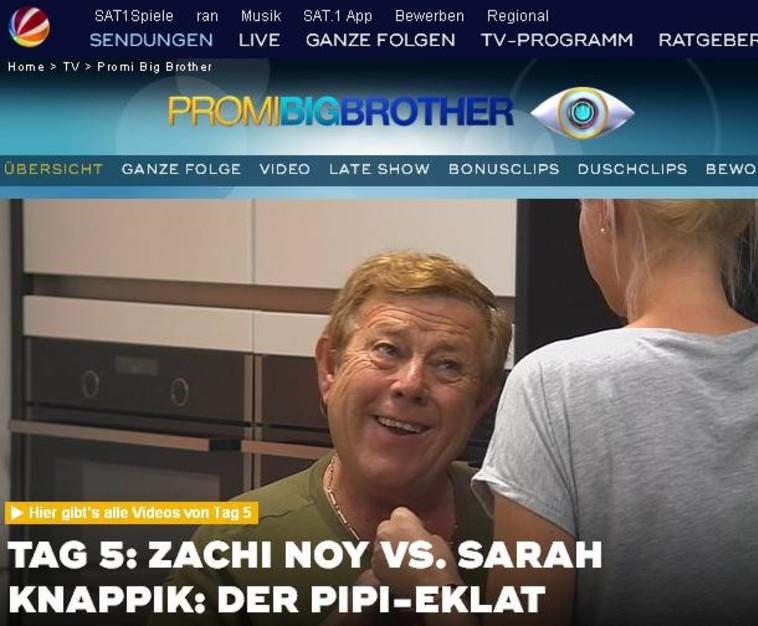 צחי נוי, האח הגדול גרמניה, צילו מסך: sat1.de
