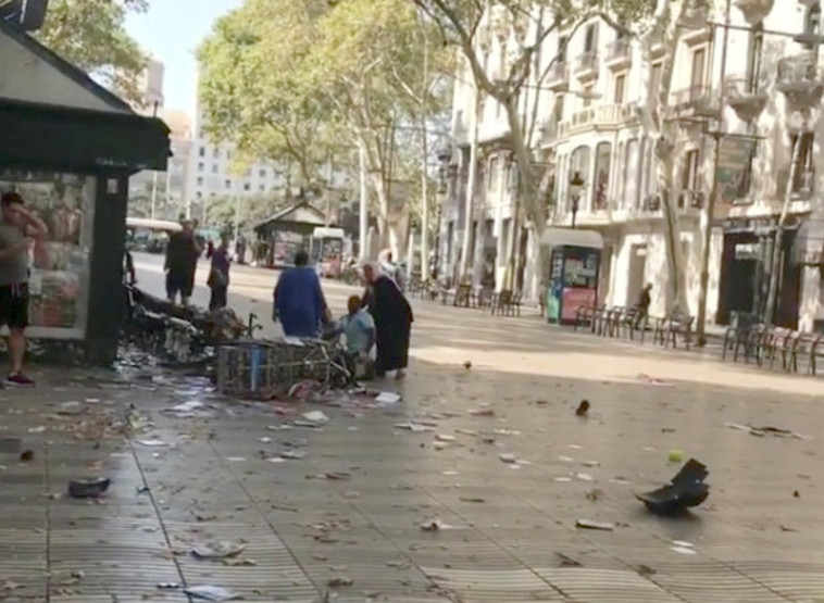 זירת הפיגוע בברצלונה. צילום: רויטרס