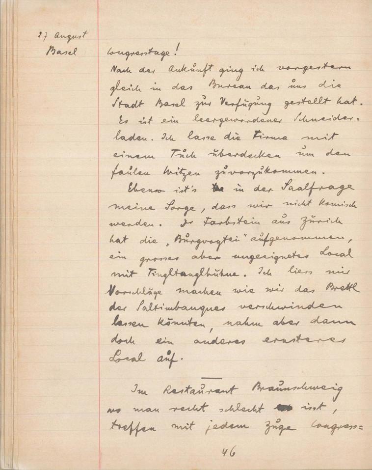 דף מיומנו של הרצל. כתב על הימים המתוחים שקדמו לקונגרס. צילום: הארכיון הציוני