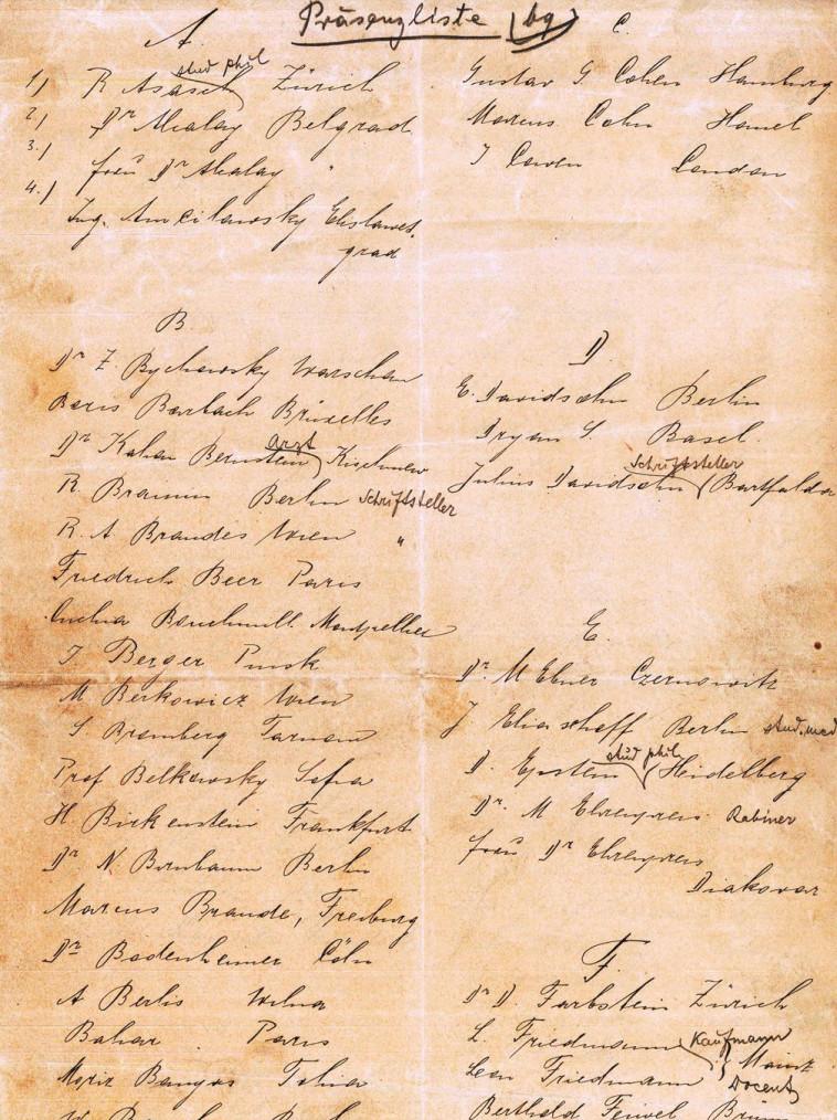 רשימת המשתתפים בקונגרס. נוכחות חובה. צילום: הארכיון הציוני