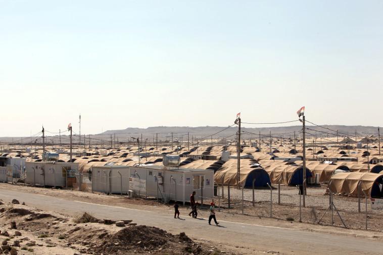 המחנה בו מוחזקים בני משפחות אנשי דאעש מדרום למוסול. צילום: רויטרס