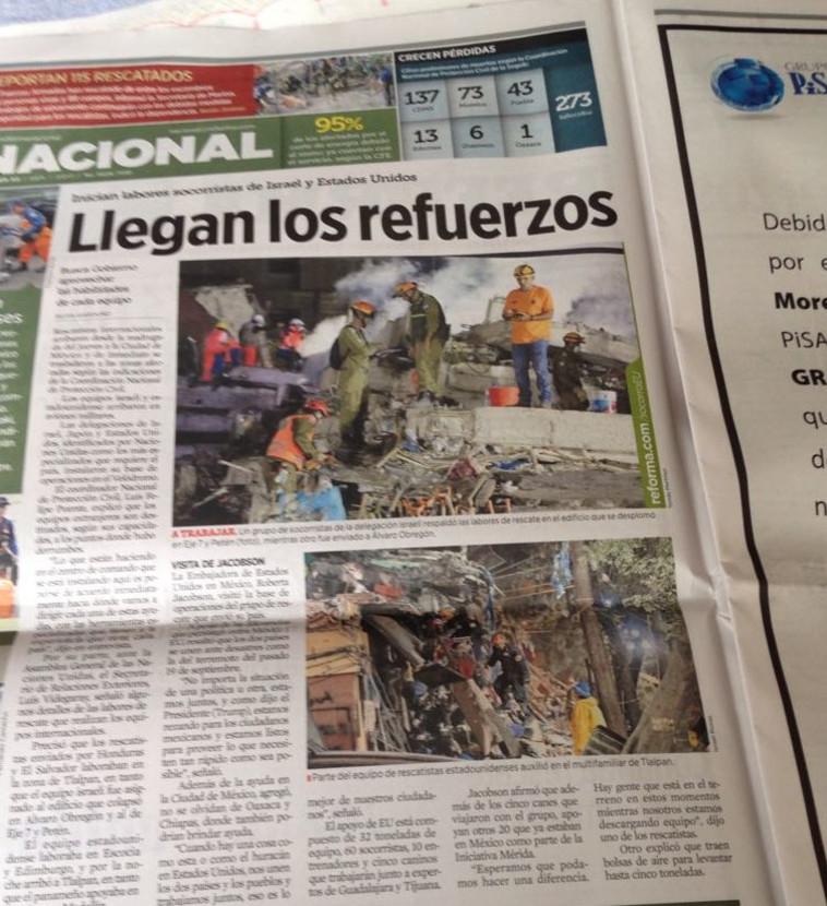 תמונות של צוותי פיקוד העורף בעיתונים המקסיקנים. צילום: משרד החוץ