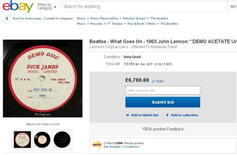 הביטלס, הקלטה נדירה למכירה. צילום מסך