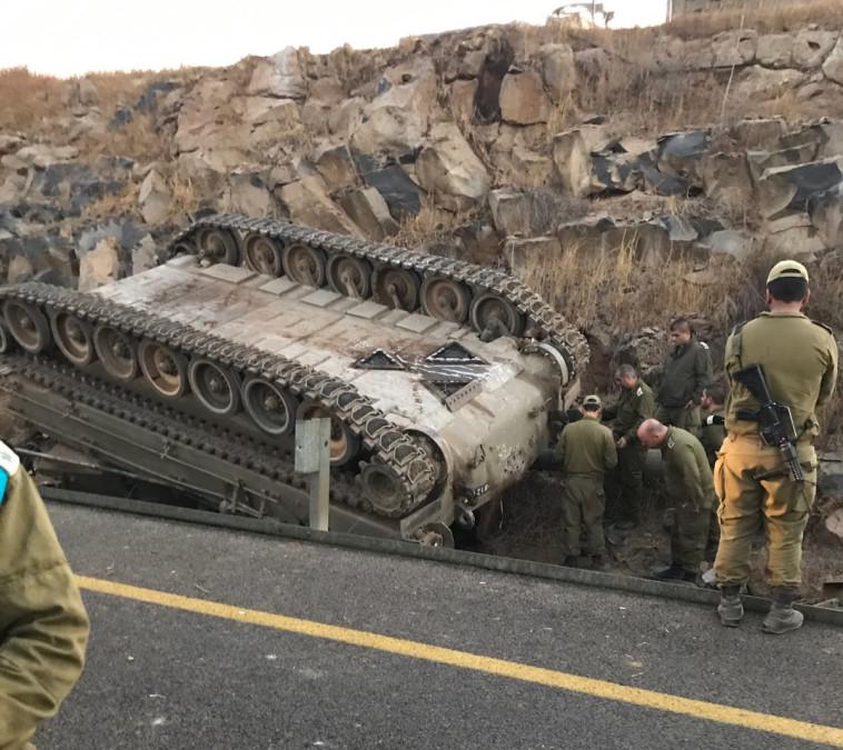 """התומ""""ת שהתהפך בגולן. צילום: ערן אליאני, מבצעי פיקוד צפון"""