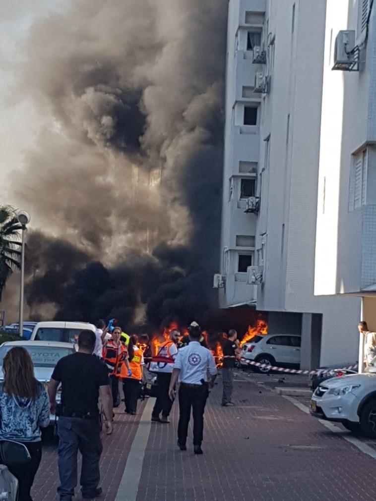 """זירת הפיצוץ באשדוד. צילום: דוברות מד""""א"""