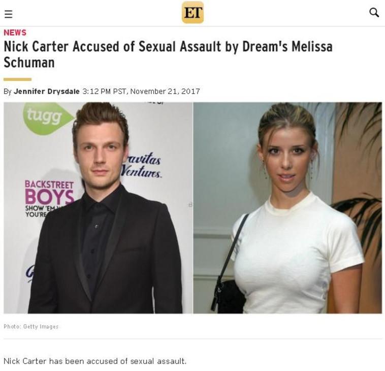 ניק קרטר ומליסה שומן, צילום מסך מתוך אתר etonline.com. צילום מסך