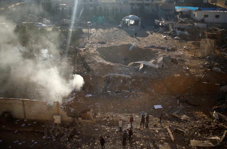 """יעד שהופצץ ע""""י צה""""ל ברצועה. צילום: רויטרס"""