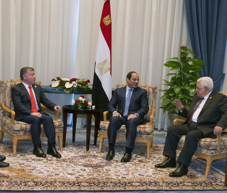 "א-סיסי עם אבו מאזן ועבדאללה. ""הנשיא המצרי הוא חבר טוב של טראמפ"". צילום: רויטרס"