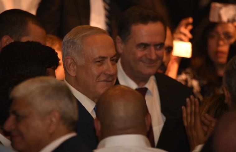 """ראש הממשלה נתניהו והשר ישראל כ""""ץ בכנס בכפר המכביה. צילום: קובי ריכטר\TPS"""