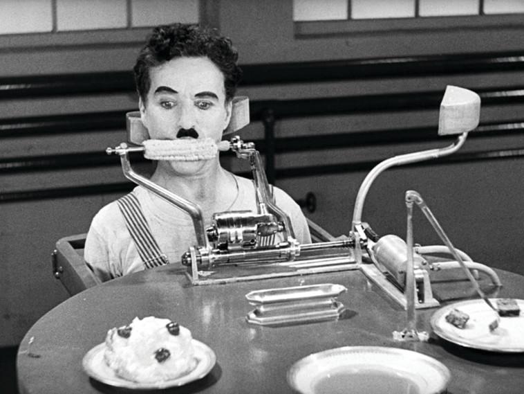"""צ'רלי צ'פלין, """"זמנים מודרניים"""", 1936. IMDB"""