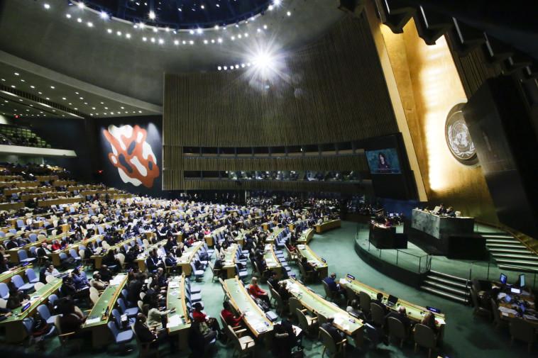 """נאום במוסד השנוא על טראמפ. ניקי היילי באו""""ם, צילום: AFP"""