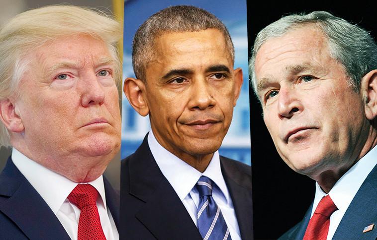 הבטיחו הישגים, אבל פעלו להסתציר את התמונה האמיתית. הנשיאים בוש, אובמה וטראמפ. צילום: רויטרס