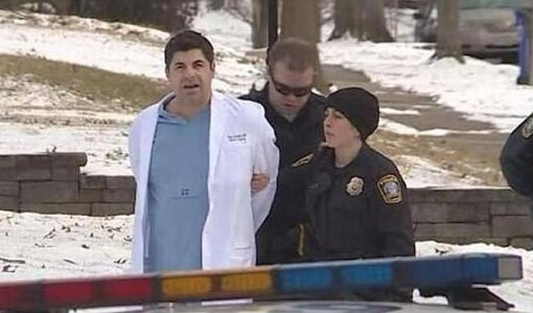 """ד""""ר תיאודור גרסטל בעת מעצרו. צילום מסך"""