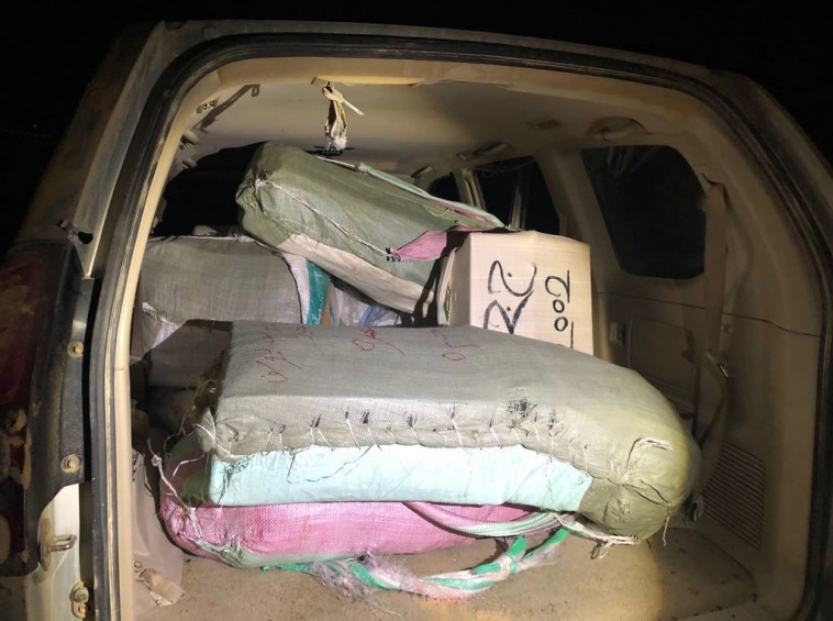 הברחת הסמים בגבול, הלילה. צילום: דוברות המשטרה