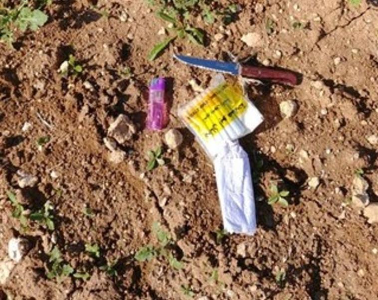 """הסכין שנתפסה אצל פלסטיני סמוך ליישוב נגוהות. צילום: דובר צה""""ל"""