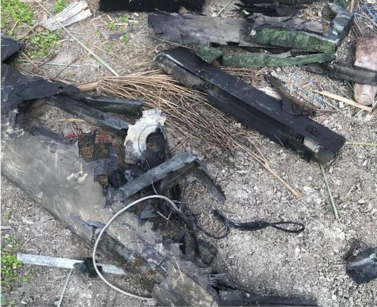 """שרידי המל""""ט האיראני שהופל. צילום: דובר צה""""ל"""