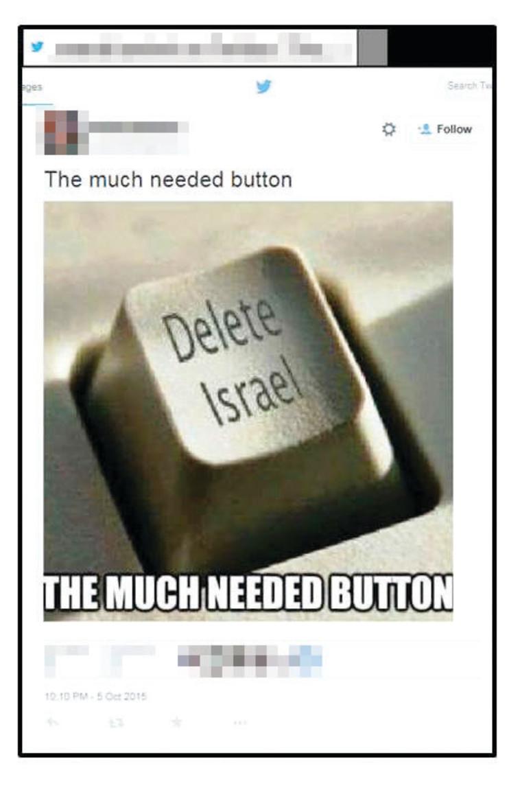 פוסט שמסית נגד ישראל בטוויטר. צילום מסך