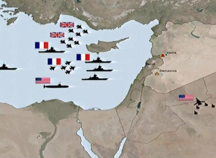 תרשים התקיפה בסוריה. צילום מסך CNN
