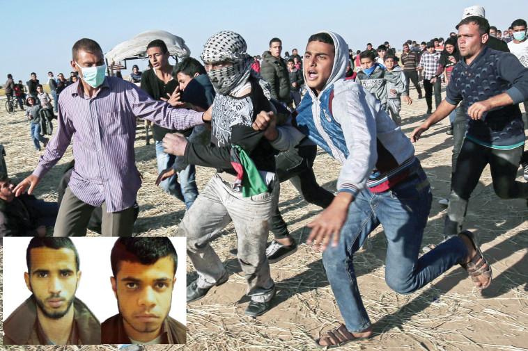 """פעילי חמאס שנתפסו על רקע ההפגנות ברצועה. צילום: AFP, תקשורת שב""""כ"""