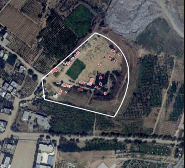 """תצלום אוויר של מפקדת גדוד חמאס בבית להייא. צילום:דובר צה""""ל"""