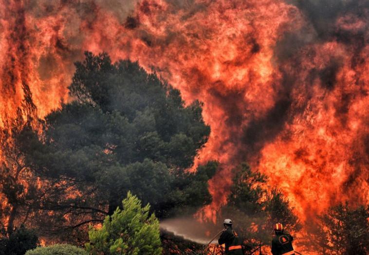 שריפות ביוון. צילום: AFP