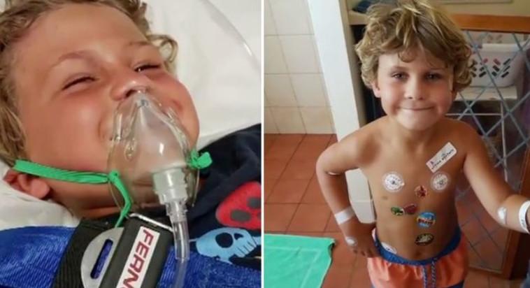 ג'ואל בבית החולים לאחר שהוכש בידי נחש. צילום מסך