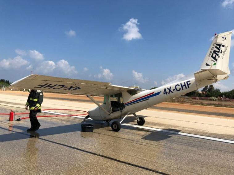מטוס הצסנה לאחר הנחיתה. צילום: דוברות רשות שדות התעופה