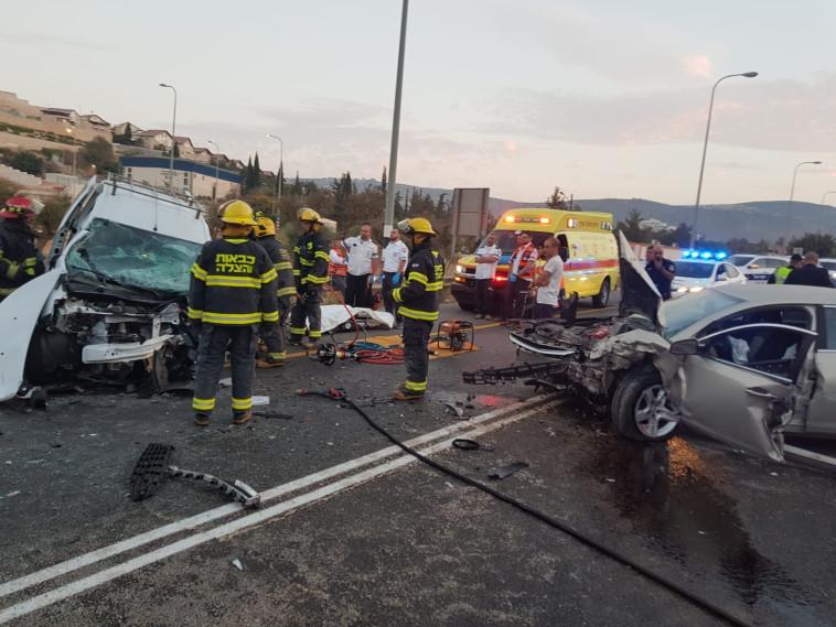 """התאונה הקטלנית סמוך לכרמיאל. צילום: דוברות מד""""א"""