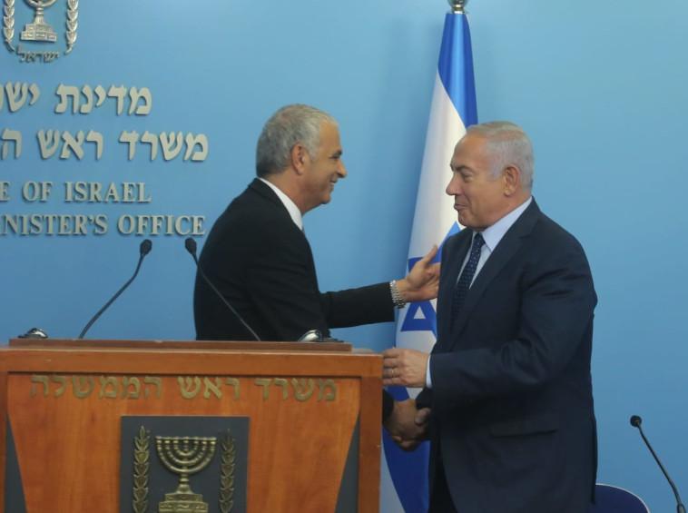 נקמה עסיסית ומהבילה. נתניהו וכחלון במסיבת העיתונאים, צילום: מרק ישראל סלם