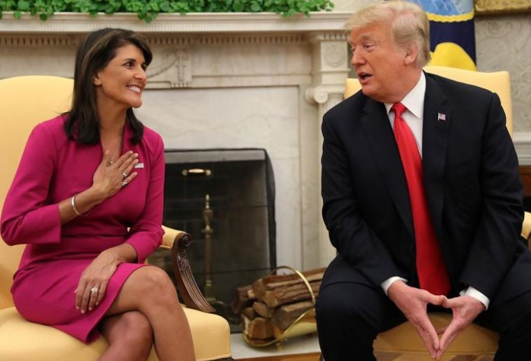 הודתה לנשיא. ניקי היילי ודונלד טראמפ במסיבת העיתונאים, צילום: רויטרס