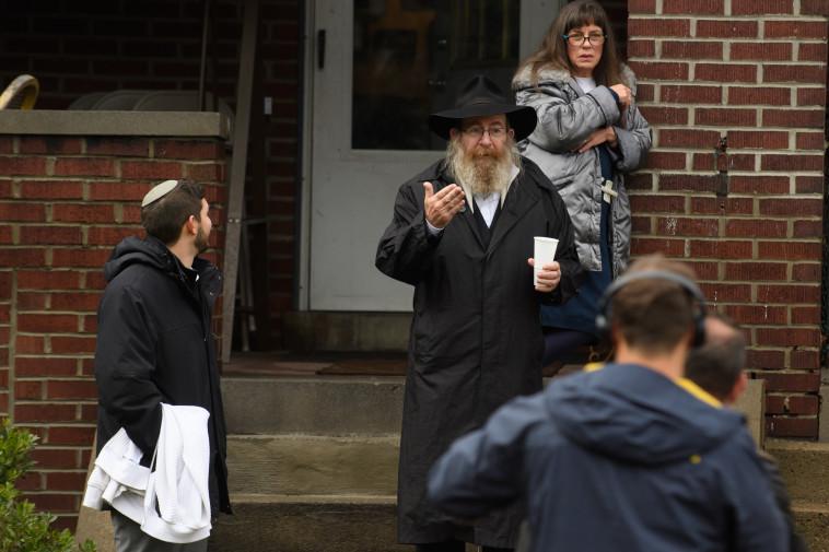 """זירת הטבח בבית הכנסת """"עץ החיים"""" בפיטסבורג. צילום: AFP"""