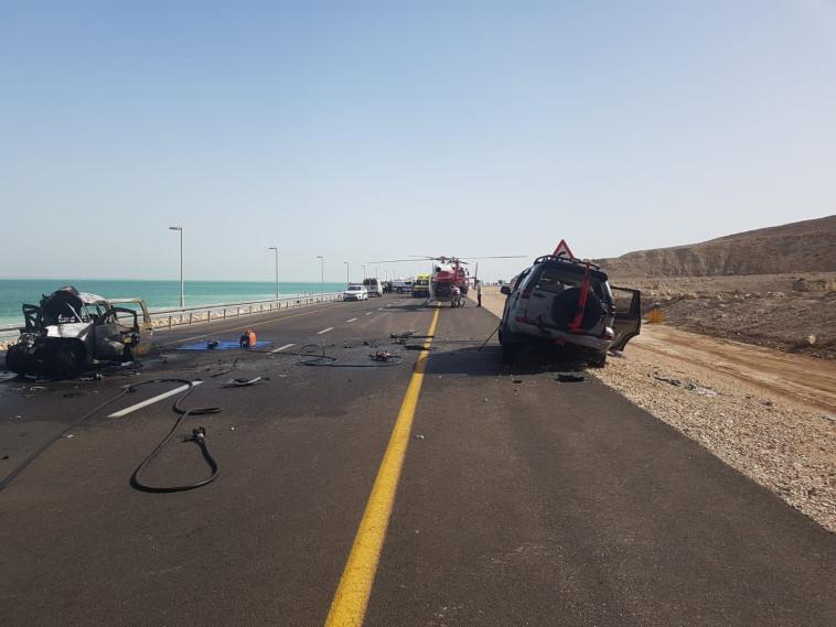 זירת התאונה הקשה בכביש 90. צילום: דוברות כבאות והצלה מרחב נגב