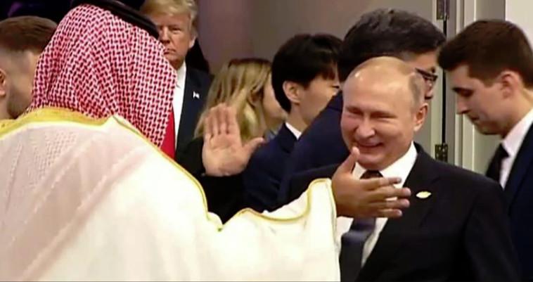 מוחמד בן סלמאן, ולדימיר פוטין ודונלד טראמפ. צילום: AFP